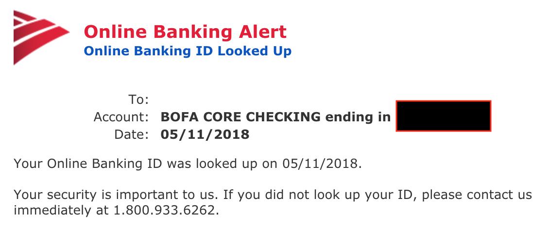 Bank of America Bogus Alert